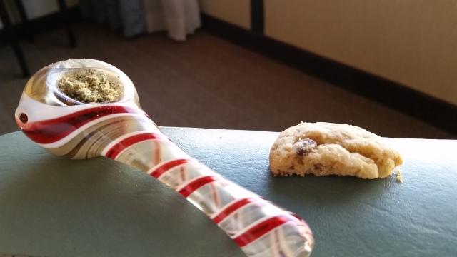 marijuana cookies and a pipe full of cannabis