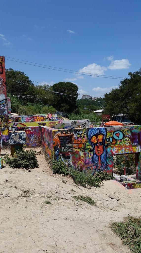 Austin Graffiti Park, blue haired girl, travel and cannabis