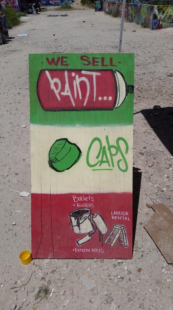 paint, caps, spray paint, ladders