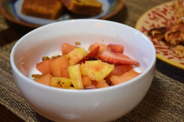 Fruit, granola and yogurt are offered every morning.