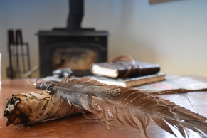 Sage and a feather smudge fan.