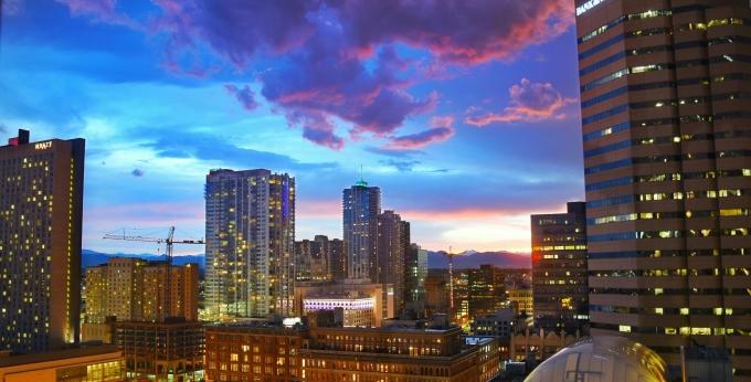 Sunset of Denver cityscape