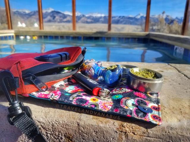 Stash Logix, Telluride bag, cannabis at the hot springs